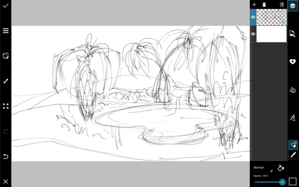 desert oasis drawing - photo #25