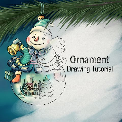 how to draw a holiday ornament