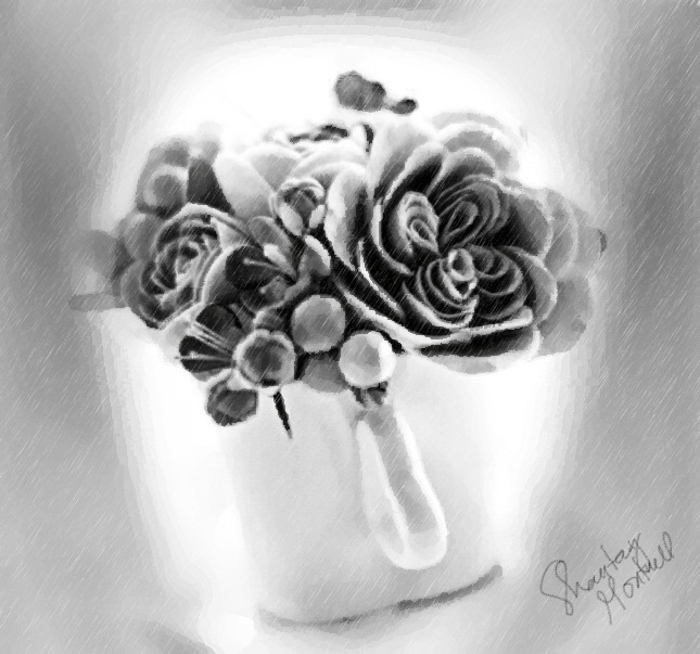 my #drawing #oil painting   'pot of bouquet'  made thru draw #picsart tools
