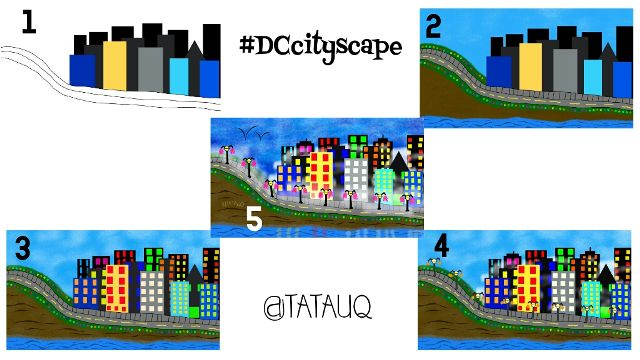cityscape drawing steps