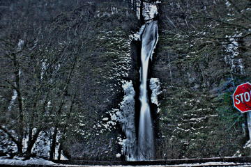 snow winter waterfall oregon rainyday