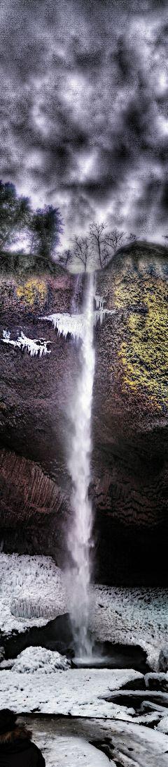 waterfall oregon rainyday winter freetoedit