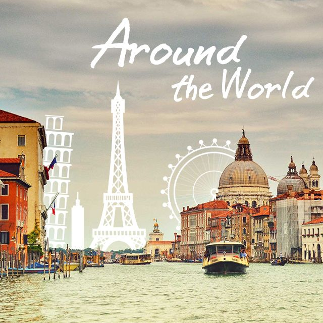 around the world travel clipart